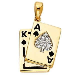 Jewelry - 14k gold Poker Card A K Spade Charm Pendant!.